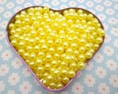SALE--100pc 8mm yellow  Pearl beads,faux pearl beads,plastic beads