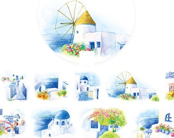 1 Roll of Limited Edition Washi Tape:  Aegean Sea's Little White House