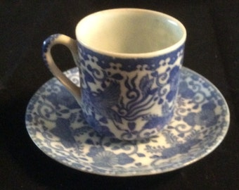 Oriental Blue and White Cup and Saucer