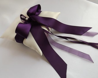 Eggplant Ribbon - Wedding Ring Pillow - Ring Bearer Pillows - Ring Cushion - Ivories or Whites - Duchess Satin - Dark Purple