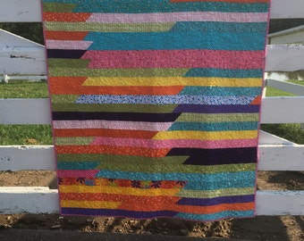Baby Girl Quilt in Bright Colors with Pink Backing