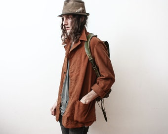 Vintage Rare Italian Military 1960s Velvet Jacket Army Men Retro Brown Tailored Blazer