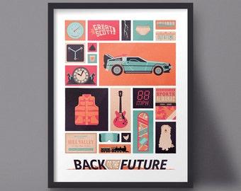 Back to the Future Poster Art Print Delorean Modern Design