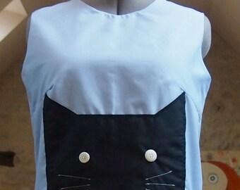 Black Cat Cute Kitty Pale Blue Cotton Top Womens size Medium