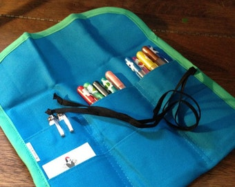 Pencil Tool Roll Teal and Sea Green
