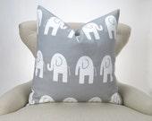 Elephant Pillow, Gray -MANY SIZES- Ele Storm white zoo white custom cushion throw sham decorator Kids nursery baby 18x18 24x24 28x28