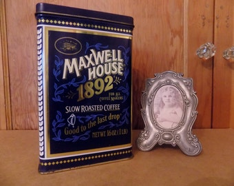 MAXWELL HOUSE 100 Year Anniversary 1892 Collector's Metal Coffee Tin ~*~ Made in the USA ~*~ Old Fashioned Tin Can ~*~ Coffee Can