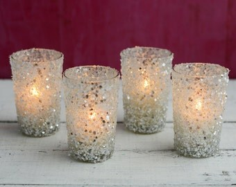 Silver wedding decorations (Set of 12); Silver votive candles; Sequin Votive Holders 4 inch; Wedding Centerpieces; Silver Candle Holders