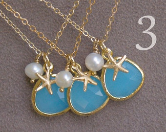 Set of 3 - Aqua Blue Starfish Necklace in Gold - Ocean Blue with Pearl - Gold Filled - Beach Jewelry - Beach Bridesmaid Necklaces Gift Set
