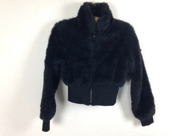 black fuzzy furry jacket size S