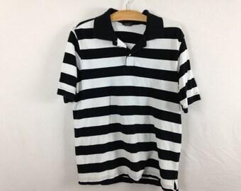 black n white striped polo size M