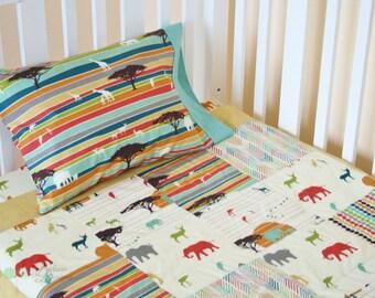 Organic Crib Bedding, Organic Baby Bedding, Organic Toddler Bedding: Savannah, Safari, Serengeti, Elephants, Giraffes