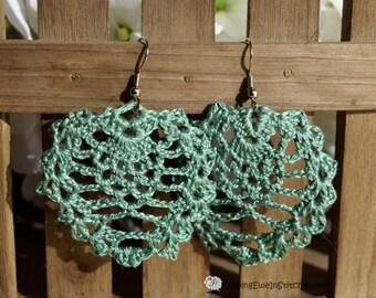 Boho crochet earrings in Lichen Green