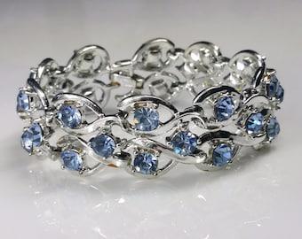 Vintage Rhinestone Bracelet Baby Blue Rhinestones in Silver-tone Design, Light Blue