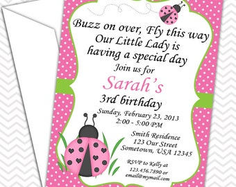 LadyBug Pink and Green Invitations PRINTABLE - Birthday Party - Baby Shower