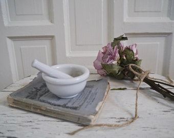 Vintage White Mortar and Pestle, Japan