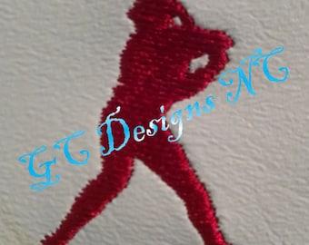 Small Baseball Hitter Embroidery Design