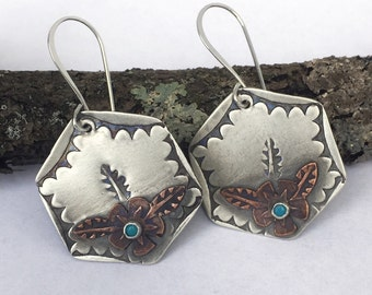 Cactus Rose ~ Sleeping Beauty Turquoise Sterling Copper Earrings Ready to Ship by ShesSoWitte