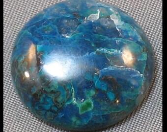 Shattuckite, , dioptase freeform cabochon 20 mm round x 6 mm at 4 grams