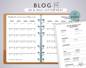 A5 BLOG Kit - Printable A5 Planner Inserts - 17 pages - Neat Theme - fits Filofax A5, Kikki K Large