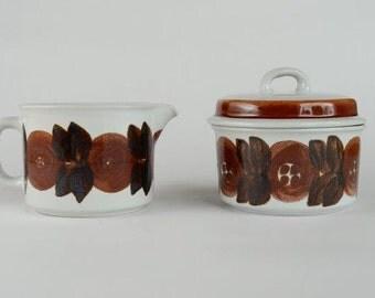 Arabia Finland Creamer and Lidded Sugar Bowl in Rosmarin Pattern Ulla Procope Made in Finland