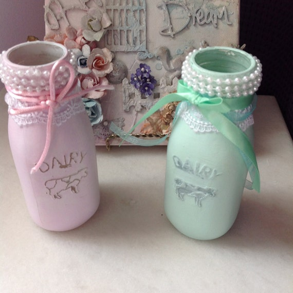 2 MILK BOTTLE - Rustic Milk Bottle, Wedding, Girl's room, Bathroom, Country, Rustic, Glam, Tablescape, Vase