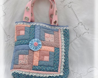 JOY! Tote, Vintage quilt made with Joy, now Repurposed with Joy into a tote to hold JOY project! Cottage Chic, Upcycled, OOAK!