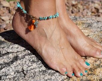 Boho Anklet, Turquoise Anklet, Tassel, Bohemian Chic