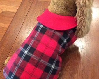 Red and Black Plaid -  Fleece  Dog Coat- Embroidered with Dog's Name - Reversible - Handmade
