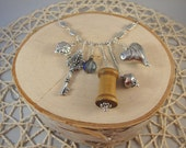 Silver Charm Necklace- Heart, Key, Spool- One of a Kind!