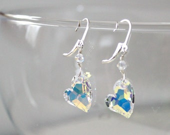 Romantic Gifts,For Her,For Girlfriend,Swarovski,Heart Crystal,Earrings,Anniversary Gift,For Wife,April Birthstone,For Woman,Unique,Gift