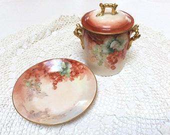 Antique Limoges Porcelain, D & C France Limoges, Handpainted Limoges Jar with Lid and Underplate, Artist Signed, Excellent Condition