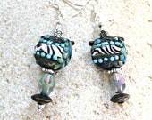 Tribal Lamp Work Earrings with Fern & Flower
