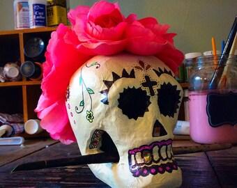 Sugar Skull Paper Mache Skull With Flowers