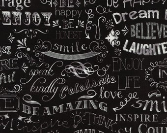 Timeless Treasures-Chalkboard Happy Words C2786 on Black by the Yard