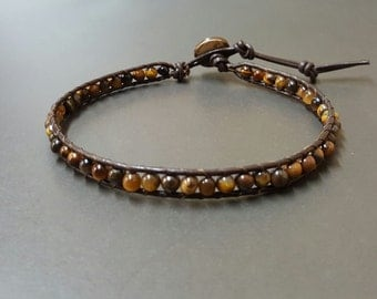 Tiger Eye Bean  Leather Anklet