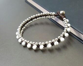 Howlite Silver Woven  Bracelet