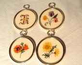 Lot of 4 Handmade Embroidered Flowers in Frames Poppy Violet Daisy Sunflower Letter Christmas Gift Holiday