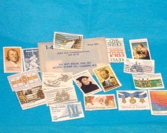 Vintage US Commemoratives Stamp Set, 1983 - Set of 17 - Cancelled, Non-hinged - Perfect for Scrapbooks, Card Making - Great Condition