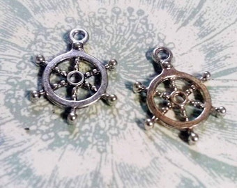 Ship Wheel Charms Pendants Antiqued Silver Wholesale Charms Pirate Charms Ship Charms Nautical BULK 50 pieces