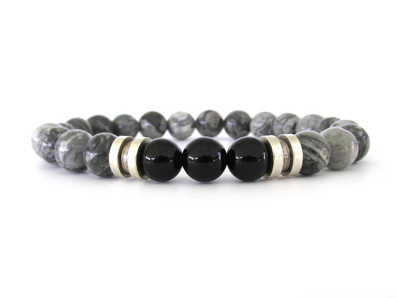 gray jasper men 39 s bracelet men 39 s bead bracelet by rockandhardware. Black Bedroom Furniture Sets. Home Design Ideas