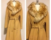 ON SALE 1970s Vintage Women's Fur Collared Wrap Jacket