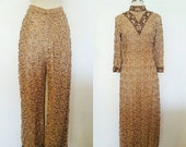 ON SALE 1960s Vintage Women's Heavily Beaded Holiday Party Dress & Pants Set Size M