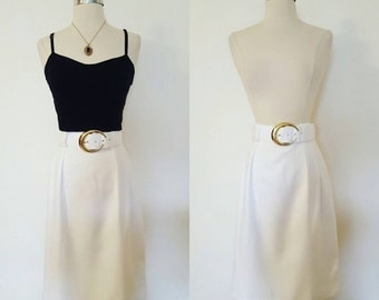 1980s NOS Tracy Evans Summer White Pencil Skirt