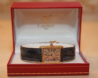 CARTIER Must de Cartier Tank Watch 18K Gold Plated