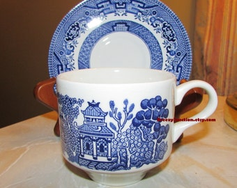 Teacup And Saucer, Blue Willow Pattern, Made In England, Blue U0026 White Tea