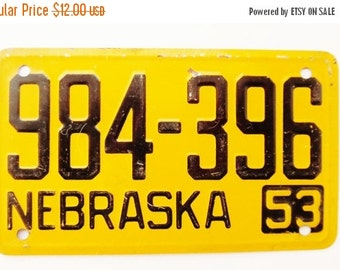ON SALE Vintage, Nebraska, 1953, Wheaties, Bike Plate, Bicycle, License Plate, Cereal Premium, Miniature, Tin, Embossed, Collectibles
