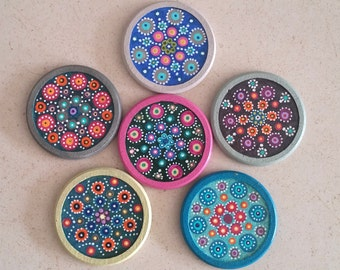 Hand painted Cork coasters - Set of 6
