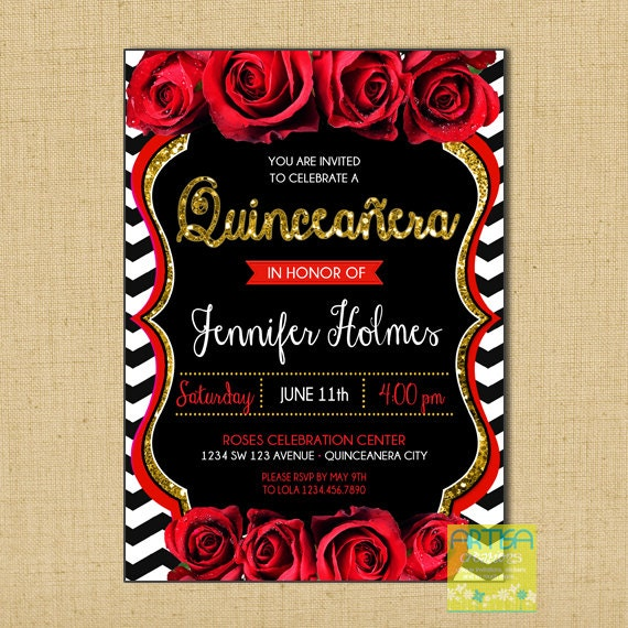 Red and Black Quinceanera invitation red roses quinceanera