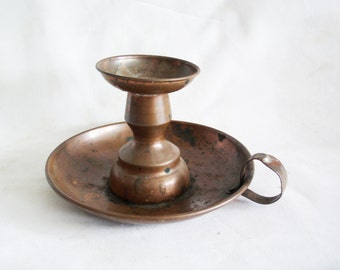 Candle holder, vintage copper, hand held, go to bed, CHAMBER CANDLESTICK. Decorative, ornate candle stick wax drip under tray, finger handle